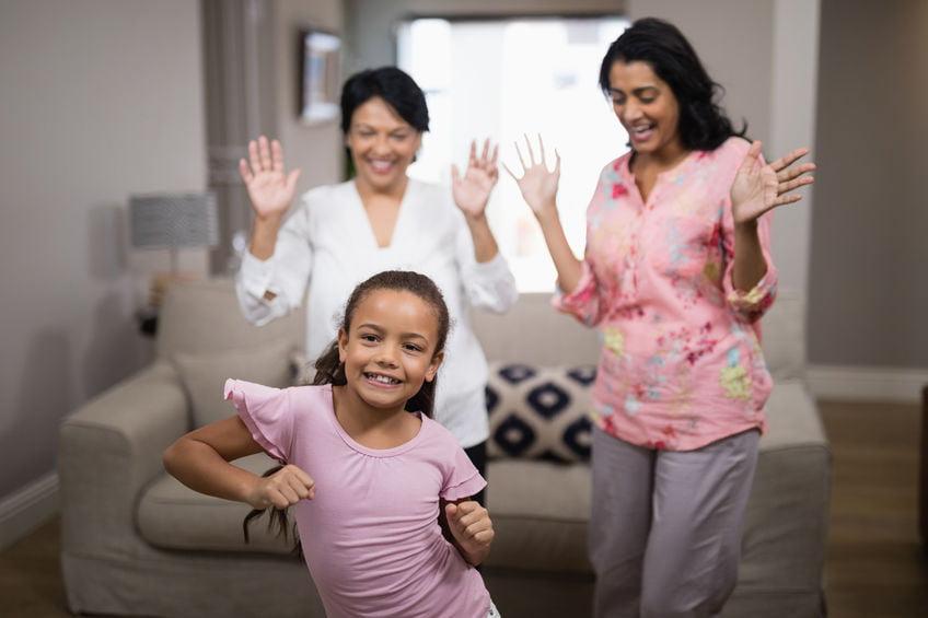 Family enjoying dance during lockdown
