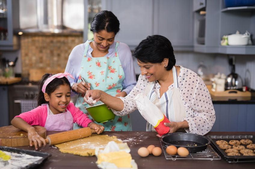 Mother daughter enjoying kitchen time during lockdown